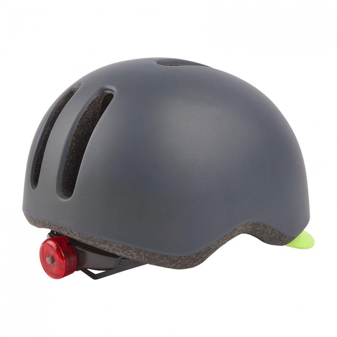 Commuter - Casque de Vélo Urbain Noir et Flo Jaune avec Feu Arrière - Taille L