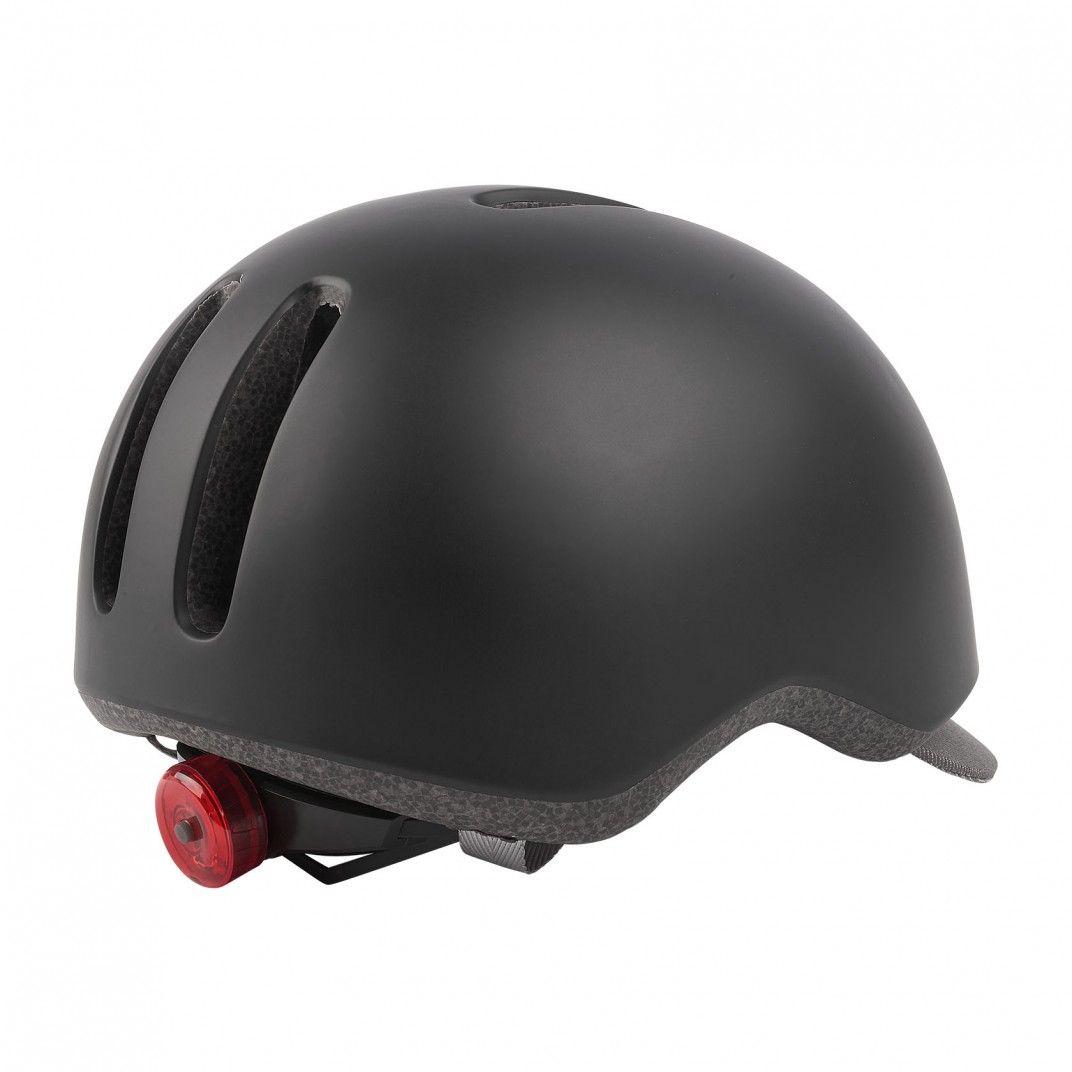 Commuter - Casque de Vélo Urbain Noir et Gris avec Feu Arrière - Taille M