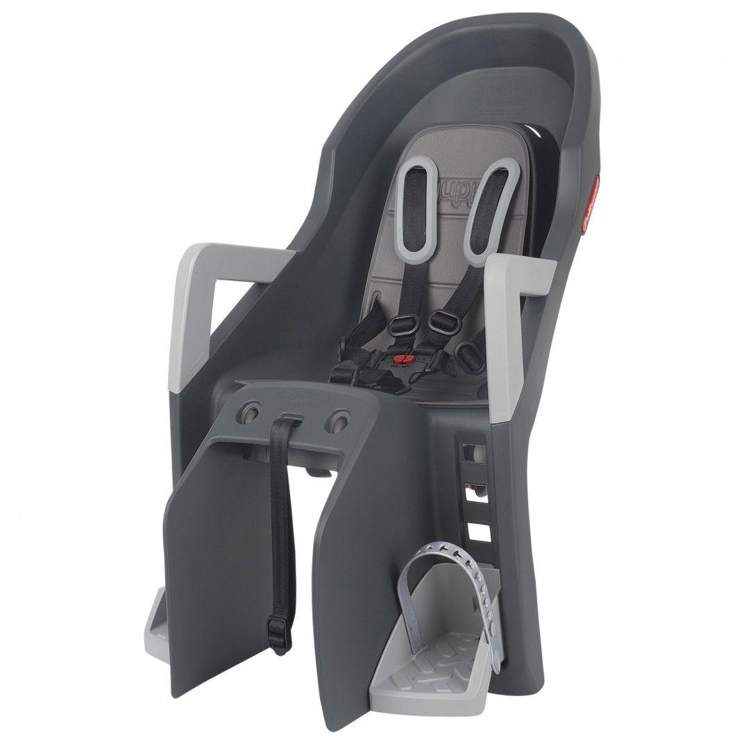 Guppy Maxi CFS - Seggiolino Bicicletta Grigio Scuro con Sistema di Montaggio su Portapacchi