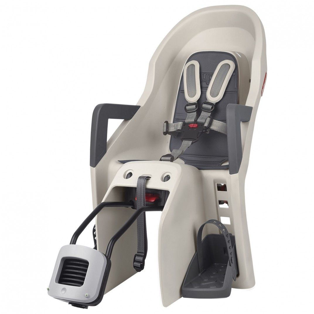 Guppy Maxi RS Plus - Cadeira Traseira Bege e Cinzenta para Bicicleta Reclinável