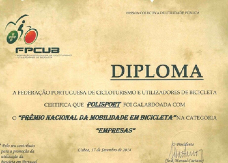 Polisport awarded with the Portuguese Bicycle Mobility Prize 2014.