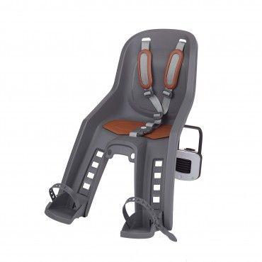 Bubbly Mini Plus FF - Fahrrad-Kindersitz für Rahmen Grau und Braun