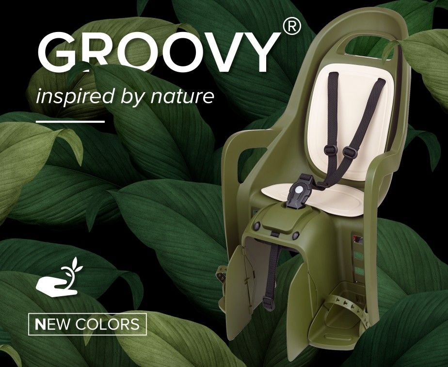 Groovy, the Child Bike Seat with Nature Inspired Colors