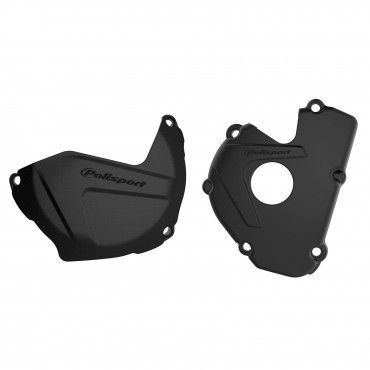 Kawasaki KX250F - Clutch and Ignition Cover Protector Kit Black - 2017-20 Models