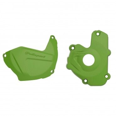 Kawasaki KX250F - Clutch and Ignition Cover Protector Kit Black Green -2013-16 Models