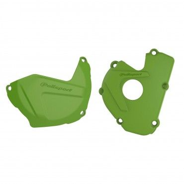 Kawasaki KX250F - Clutch and Ignition Cover Protector Kit Black Green -2017-21 Models