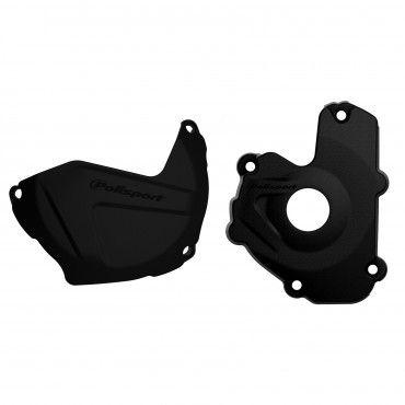 Kawasaki KX250F - Clutch and Ignition Cover Protector Kit Black Black -2013-16 Models