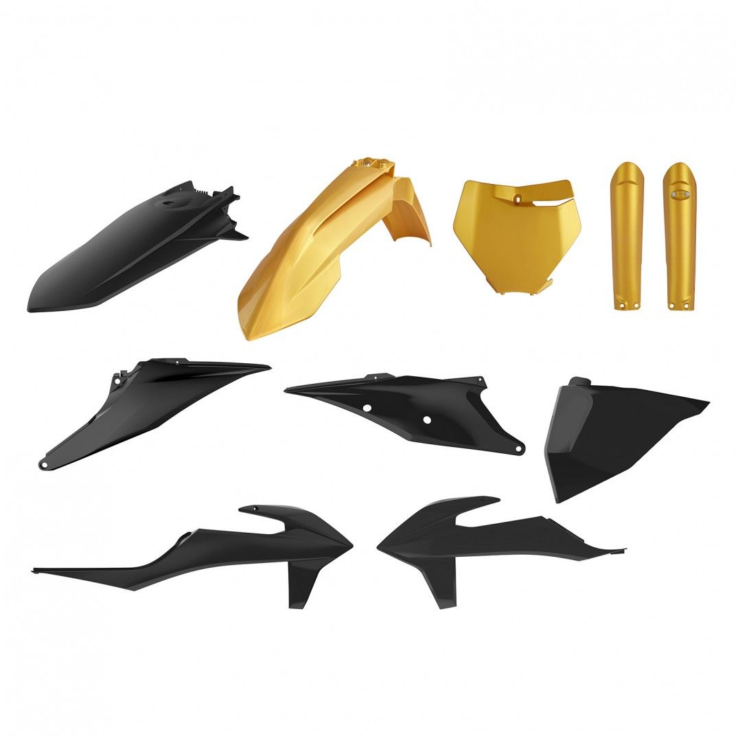 KTM SX,SX-F/XC,XC-F - MX Plastic Kit Gold Metal Flow - 2019-21 Models